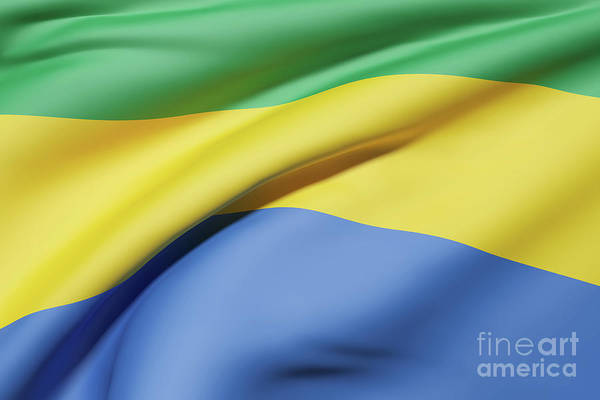 Gabonese Digital Art - Gabonese Republic Flag Waving by Enrique Ramos Lopez