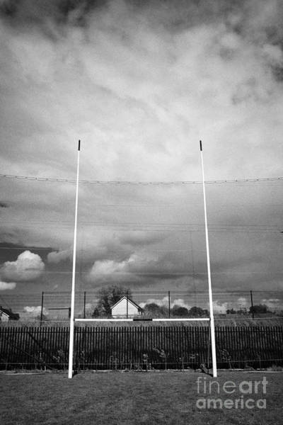 Gaelic Photograph - gaelic football goal and catch net on a pitch at Clones county monaghan ireland by Joe Fox