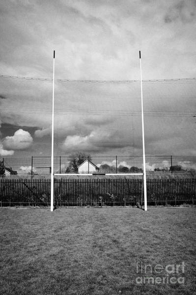 Gaelic Photograph - gaelic football goal and catch net on a pitch at Clones county monaghan republic of ireland by Joe Fox