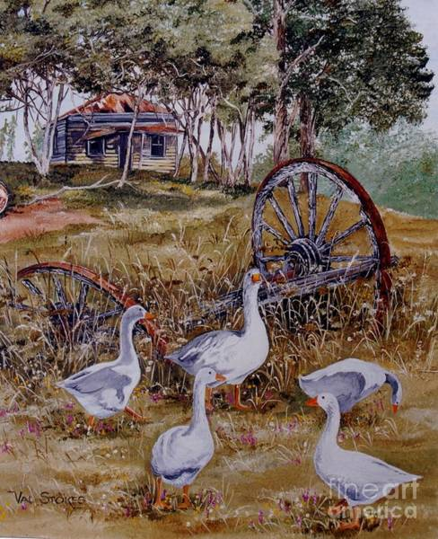 Painting - Gaggling Geese by Val Stokes