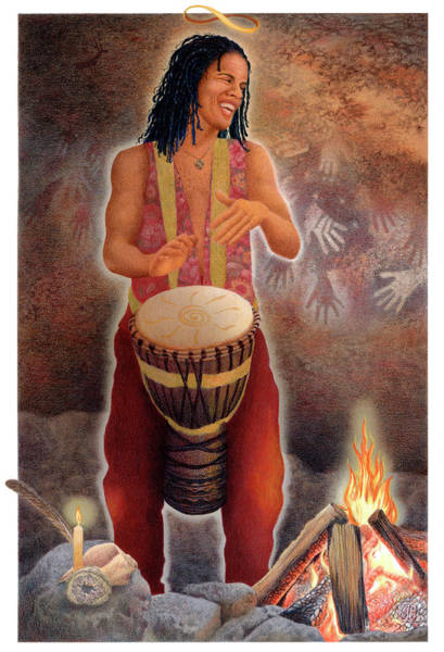 Djembe Wall Art - Painting - Gaian Tarot Magician by Joanna Powell Colbert