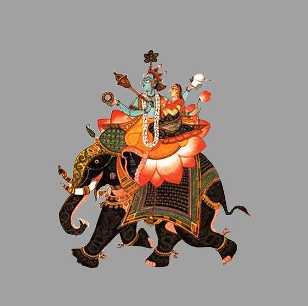 Laksmi Wall Art - Digital Art - Gajavahana by Asok Mukhopadhyay