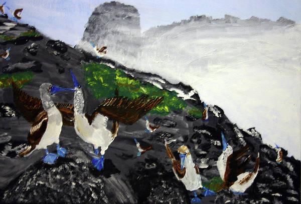 Boobies Painting - Galapagos Gathering by Dennis Wilson