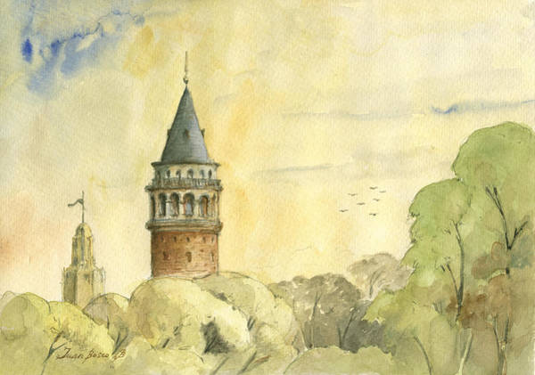 Maiden Wall Art - Painting - Galata Tower Istanbul by Juan Bosco