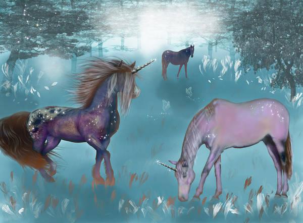 Wall Art - Mixed Media - Galaxy Unicorn by Lisa Stanley