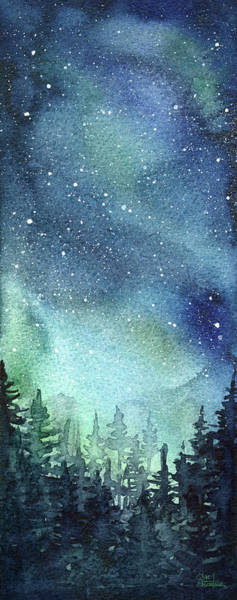 Light Green Painting - Galaxy Watercolor Aurora Painting by Olga Shvartsur