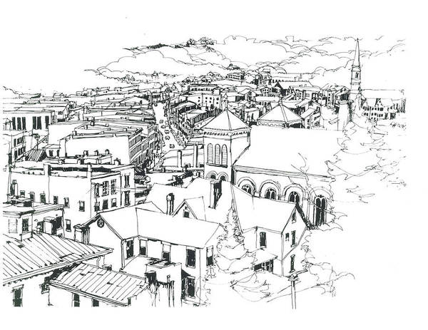 Mississippi River Drawing - Galena Illinois View Of Town by Robert Birkenes