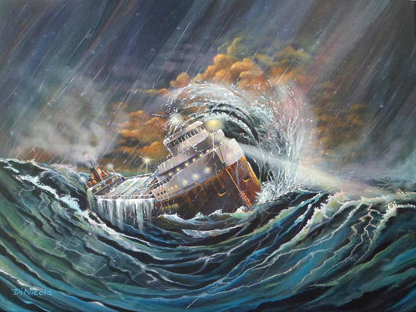 Lake Superior Painting - Gales Of November Remembered by Anthony DiNicola