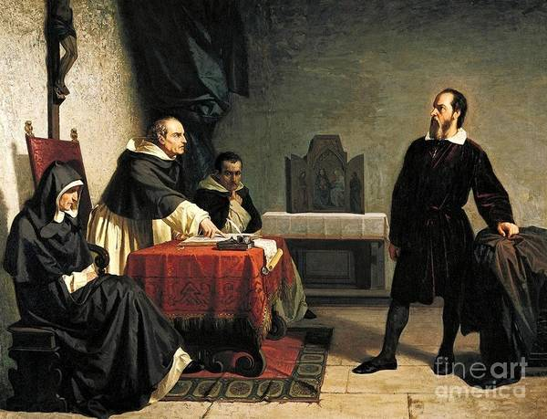 Wall Art - Painting - Galileo Facing Roman Inquisition by Pg Reproductions