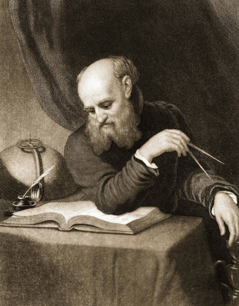 Theorist Wall Art - Painting - Galileo With Compass And Diagrams by American School