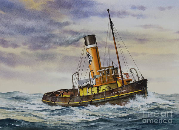Wall Art - Painting - Gallant Steam Tugboat Graygarth by James Williamson