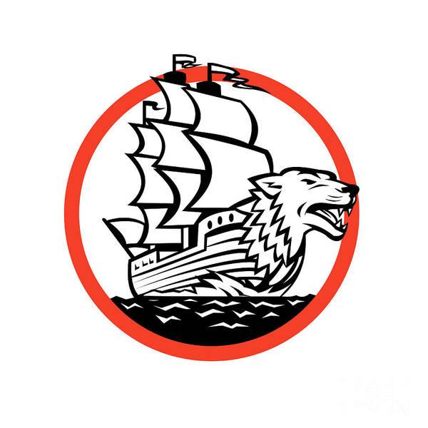 Wall Art - Digital Art - Galleon Ship Wolf On Bow Circle Retro by Aloysius Patrimonio