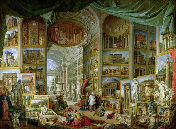 Wall Art - Painting - Gallery Of Views Of Ancient Rome by Giovanni Paolo Pannini