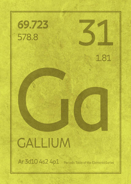 Atomic Number Wall Art - Mixed Media - Gallium Element Symbol Periodic Table Series 031 by Design Turnpike