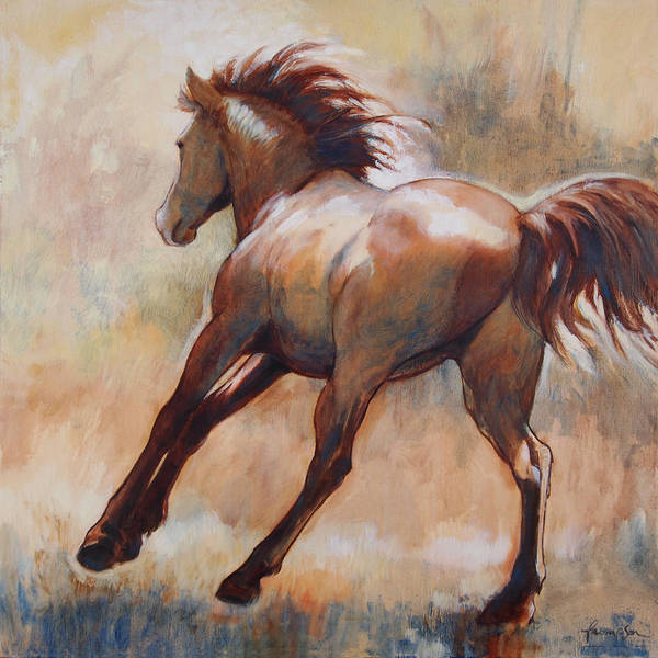 Quarter Horse Painting - Gallop by Tracie Thompson