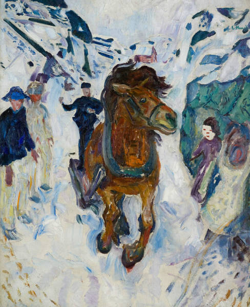 Norwegian Painting - Galloping Horse  by Edvard Munch