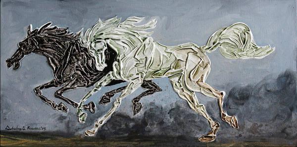 Exploring Mixed Media - Galloping Horses 16 by Debabrata Biswas