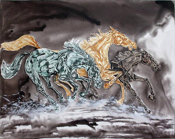 Exploring Mixed Media - Galloping Horses 17 by Debabrata Biswas