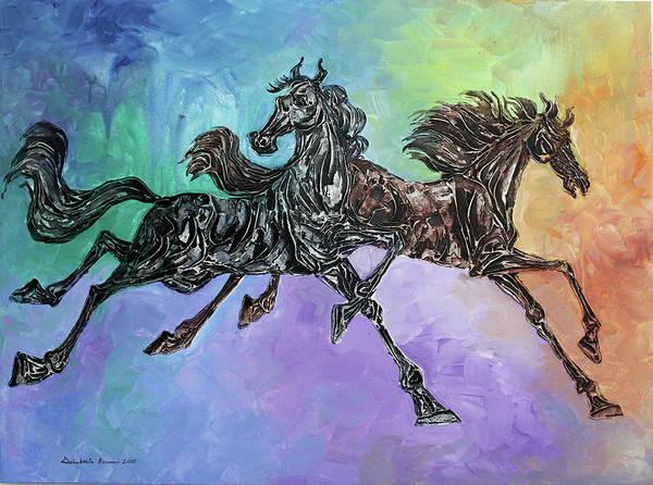 Exploring Mixed Media - Galloping Horses 72 by Debabrata Biswas