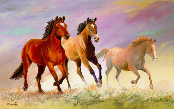 Quick Wall Art - Painting - Galloping Horses by Anthony Mwangi