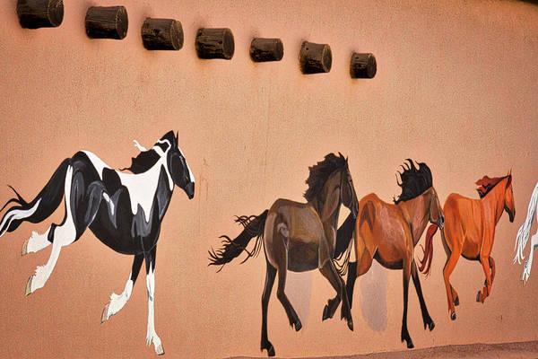 Photograph - Galloping Horses Mural - Taos by Stuart Litoff