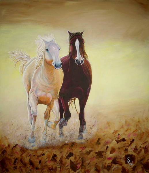 Painting - Galloping Horses by Shirley Wellstead