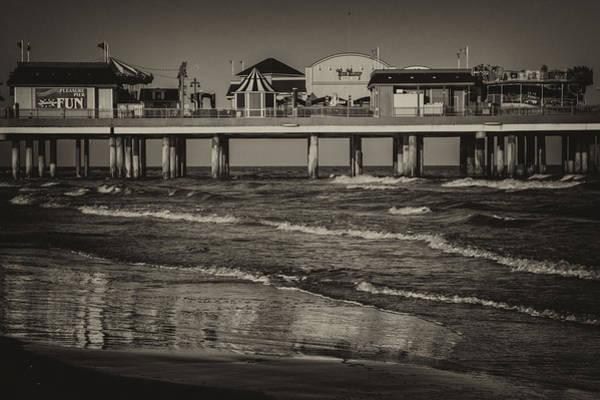 Photograph - Galveston Pleasure Pier - Black And White by Kathy Adams Clark