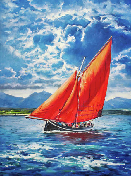 Wall Art - Painting - Galway Hooker At Sea by Conor McGuire