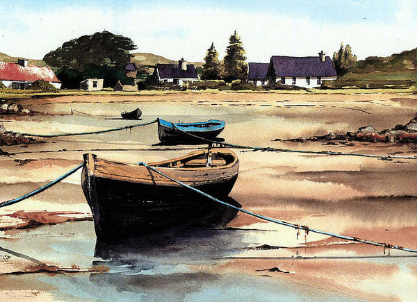 Painting - Galway, Roundstone,,,, Boats At Erlak by Val Byrne
