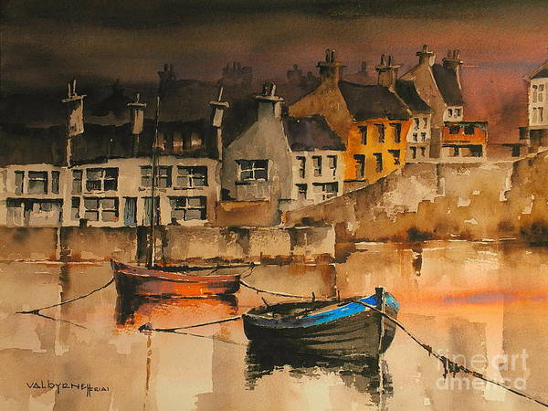 Painting - Galway.. Roundstone Harbour Evening Glow by Val Byrne