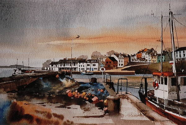 Painting - Galway.... Roundstone Harbour by Val Byrne