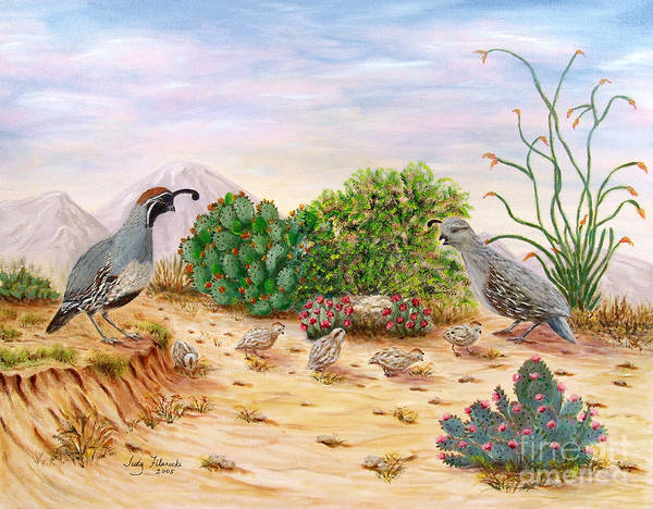 Prickly Pear Wall Art - Painting - Gambel Quails Day In The Life by Judy Filarecki
