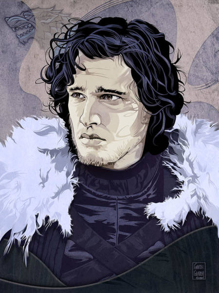 Wall Art - Digital Art - Game Of Thrones Jon Snow Portrait by Garth Glazier