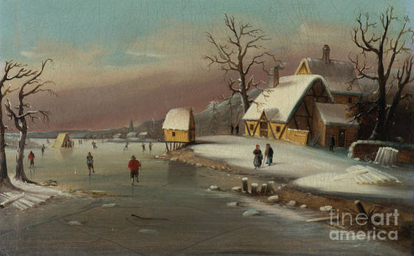 Snow Bank Painting - Games On Ice by William Matthew Prior