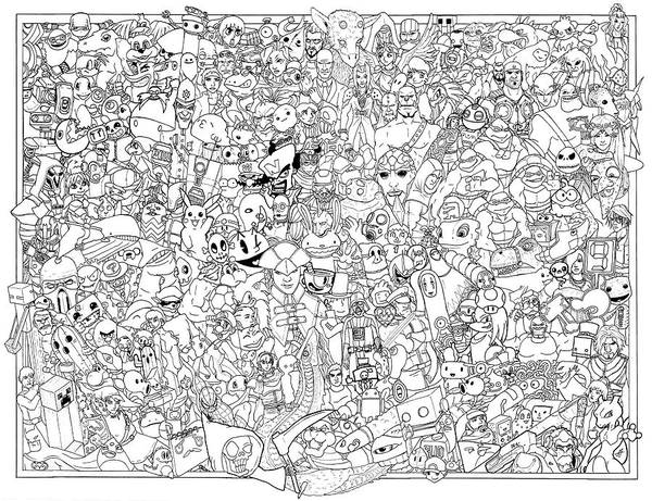 Pokemon Drawing - Gaming Themed Coloring Poster by Austin Alander