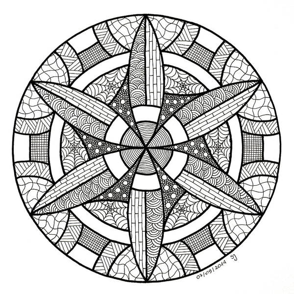 Sacred Geometry Drawing - Gamma - Zen Mandala by Sabina Jandura