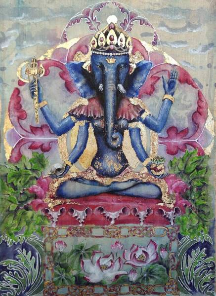 Hindu Goddess Wall Art - Painting - Ganapatihridaya  by Silk Alchemy