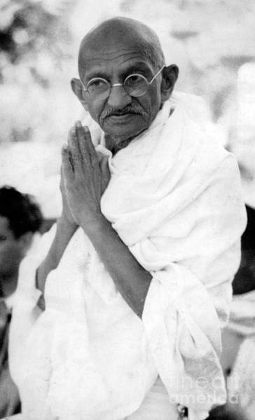Shaved Photograph - Gandhi by Indian School