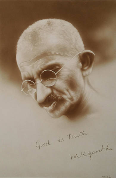 Wall Art - Painting - Gandhi by Marcel Franquelin