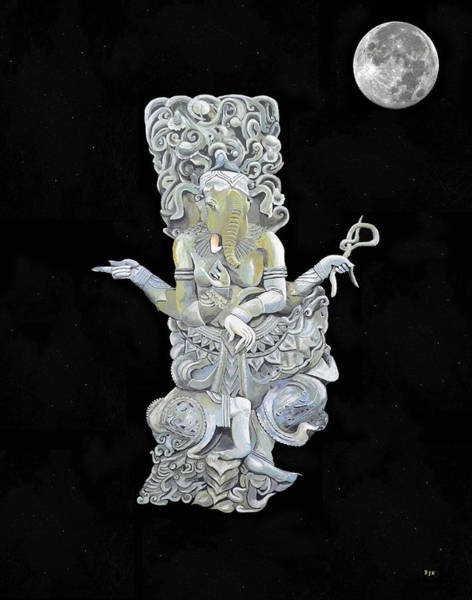 Mixed Media - Ganesh With Moon The Hindu Elephant God. by Eric Kempson
