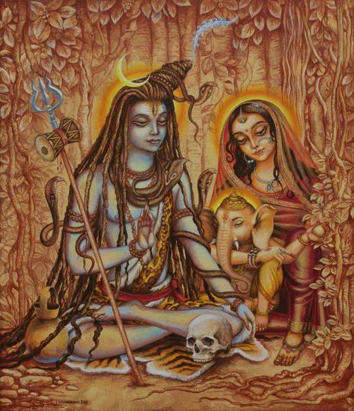 Wall Art - Painting - Ganesha Parvati Mahadeva by Vrindavan Das
