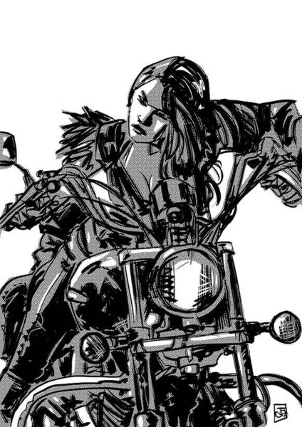 Biker Wall Art - Drawing - Gang Girl by Giuseppe Cristiano