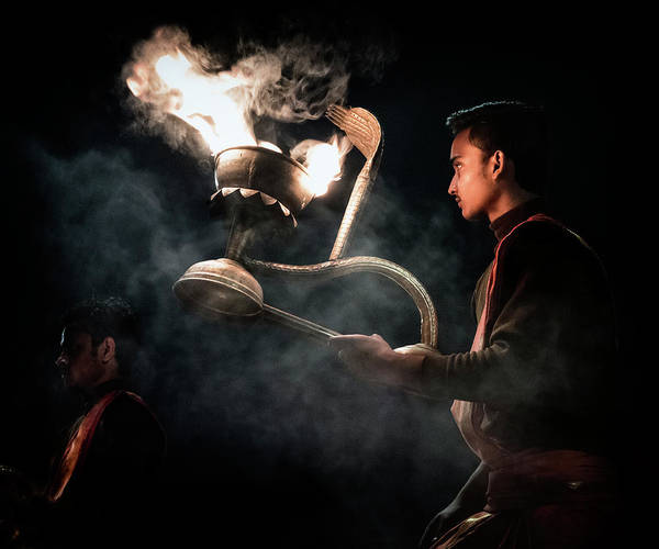Photograph - Performing Ganga Arti On River Ganges. by Usha Peddamatham
