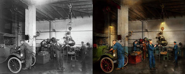 Photograph - Garage - Mechanic - The Overhaul 1919 - Side By Side by Mike Savad