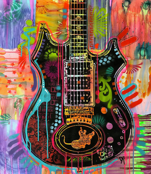 Wall Art - Painting - Garcia Tiger Guitar by Dean Russo Art