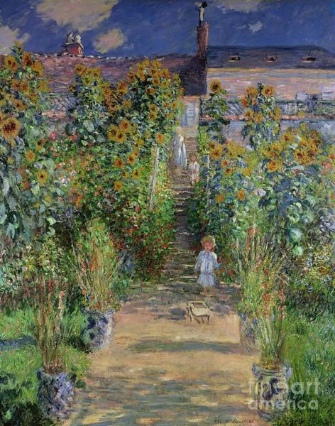 Stairs Painting - Garden At Vetheuil by Claude Monet