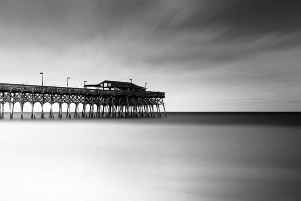 Beach City Photograph - Garden City Pier Bw I by Ivo Kerssemakers