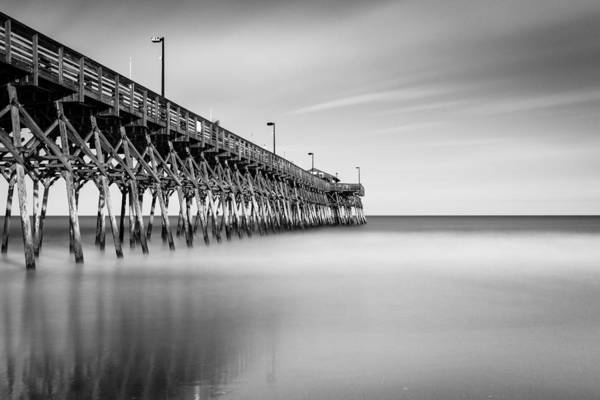 Beach City Photograph - Garden City Pier Bw II by Ivo Kerssemakers