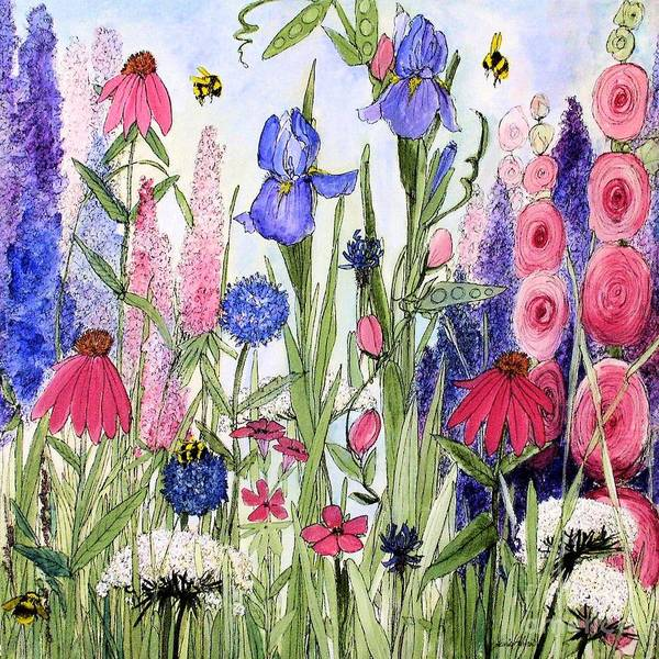 Garden Cottage Iris And Hollyhock Art Print