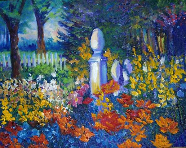Fencepost Painting - Garden Fencepost by Judy Groves